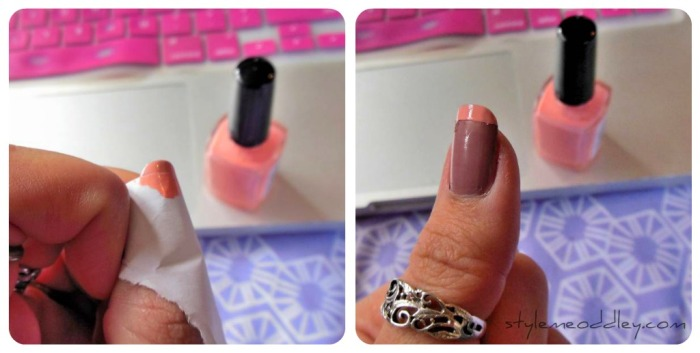 french nails, manicure, tips, DIY, beauty, paper, rubber band